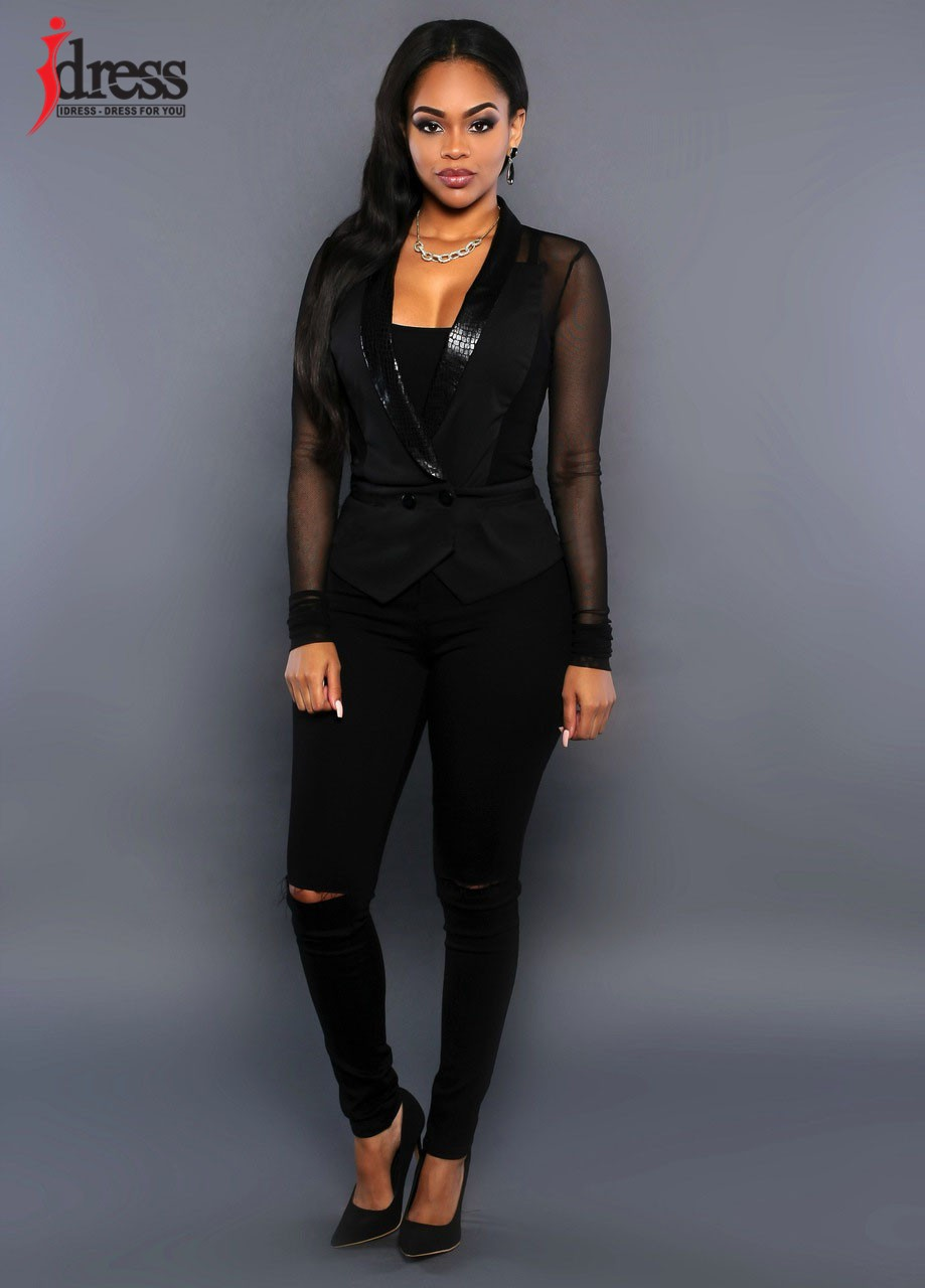 IDress Women Blazer Jackets 2016 Fashion Mulher Sexy Blazer Women Button Veste Femme Blazer Mesh Leather Partchwork Long-Sleeve Slim Blazer Women Blazers (2)