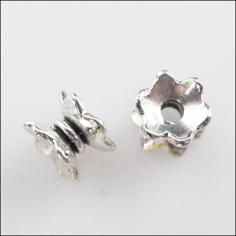 50 шт., тибетские серебряные бусины-разделители для бусин, Подвески 5x7 мм