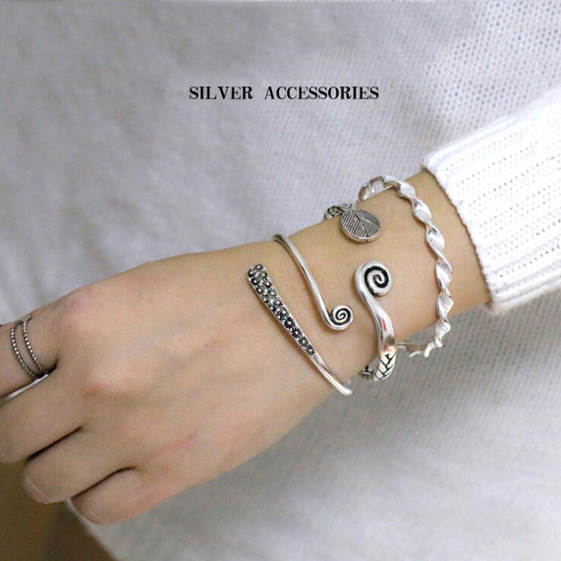 XIYANIKE Simple Fashion 925 Sterling Sliver Exquisite Leaves And Flower Open Adjustable Women Bracelets Thai Ethnic Hand Made