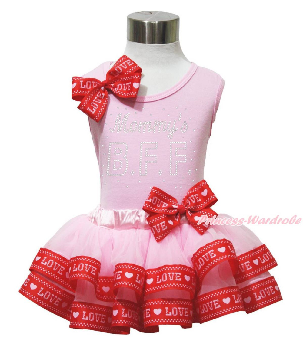 ФОТО Father & Mother's Day Mommy's BFF Top Pink Love Satin Trim Girl Skirt Set NB-8Y MAPSA0659