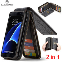Genuine Leather Original Phone Case Funda For Samsung S7 Edge case Coque For Samsung Galaxy S8 Plus Magnetic Wallet Cover 2 in1