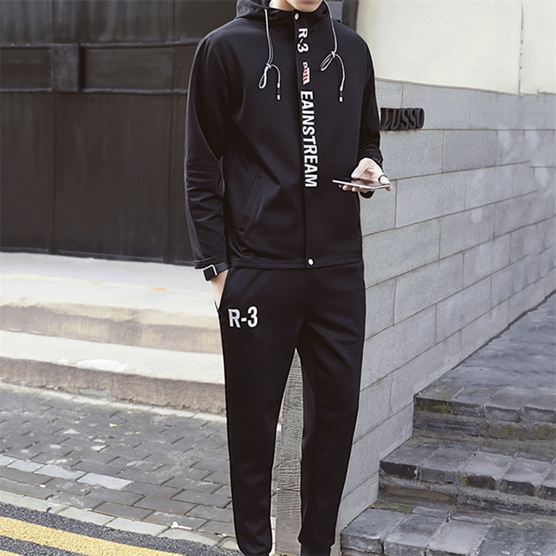 2018 Fashion brand men sets Letter printed mens tracksuit male sweatsuit white sporting sweat suits Casual Zipper hoodies pants