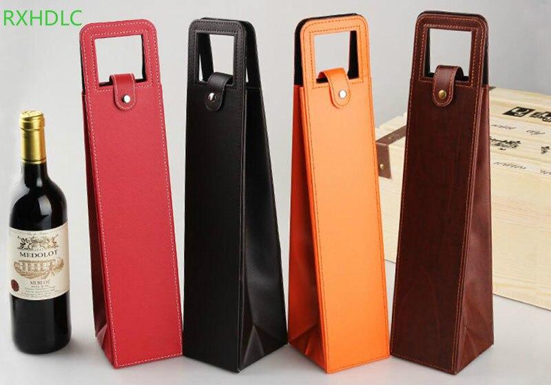Realistisch Luxe Draagbare Pu Lederen Wijn Zakken Rode Wijn Fles Verpakking Case Gift Opslag Dozen Met Handvat Bar Accessoires