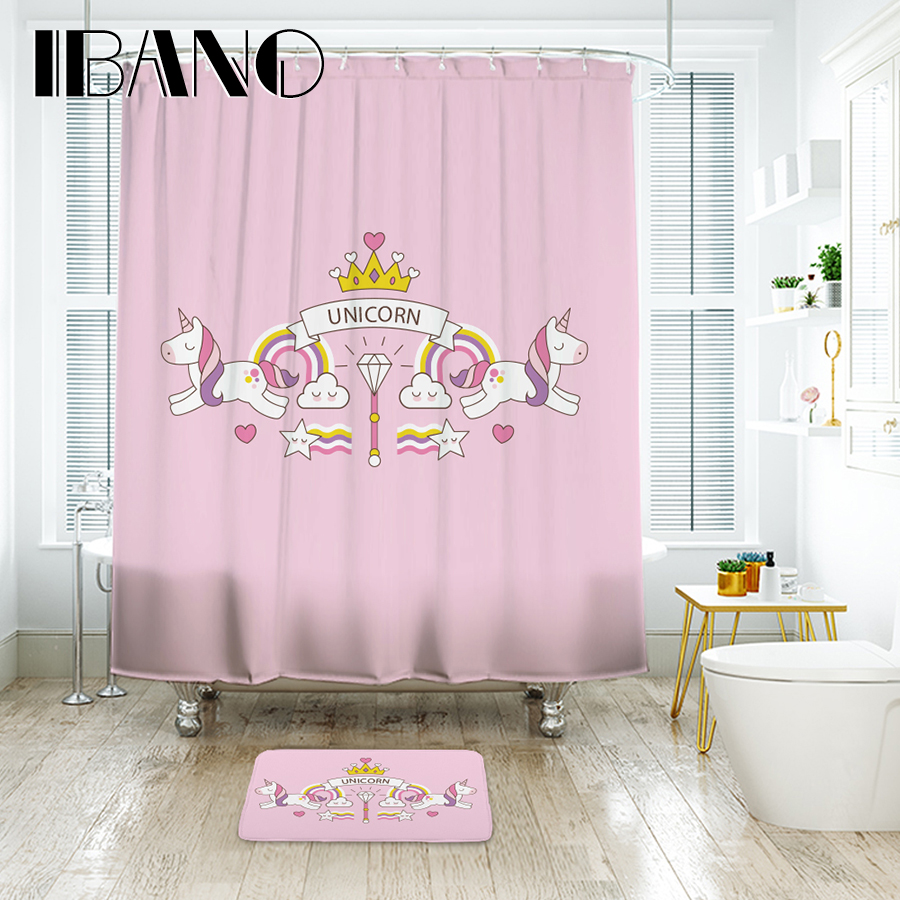 ibano cute unicorn land shower curtain waterproof polyester fabric bath curtain for the bathroom. Black Bedroom Furniture Sets. Home Design Ideas