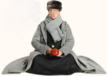 unisex 5color Winter warm wool cape meditation cloak clothing zen buddhist abbot coat Lay robe monks martial arts suits bluegray(China)