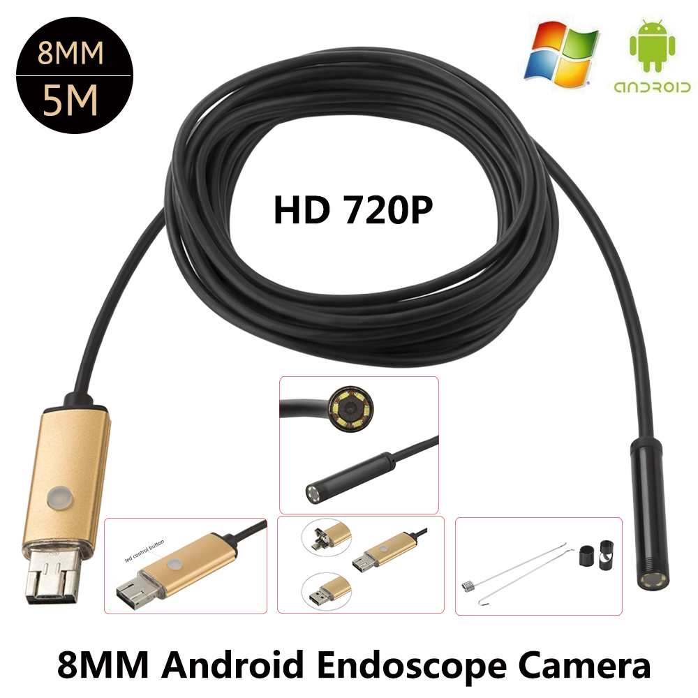 JCWHCAM Endoscope 8mm 6 LED PC USB Endoscope HD 720P 2M 5M USB Android Borescope OTG Tube Inspection Endoscopio Phone Camera 2018 newest 4 9mm lens medical endoscope camera for otg android phone pc usb borescope inspection otoscope camera for ear nose