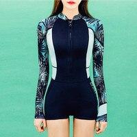 Sexy Women S Swimming Suits One Piece Swimwear Long Sleeve Swimsuit Surfing Beachwear Rash Guards Female