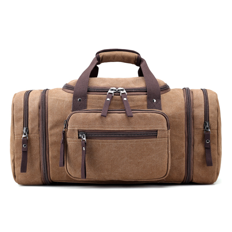 Many outside bag big capacity canvas bag Simple pure color strong travel bag for men Brand