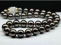 HOT## Wholesale > >>>gorgeous 10 11MM natural tahitian black pearl necklace 18''