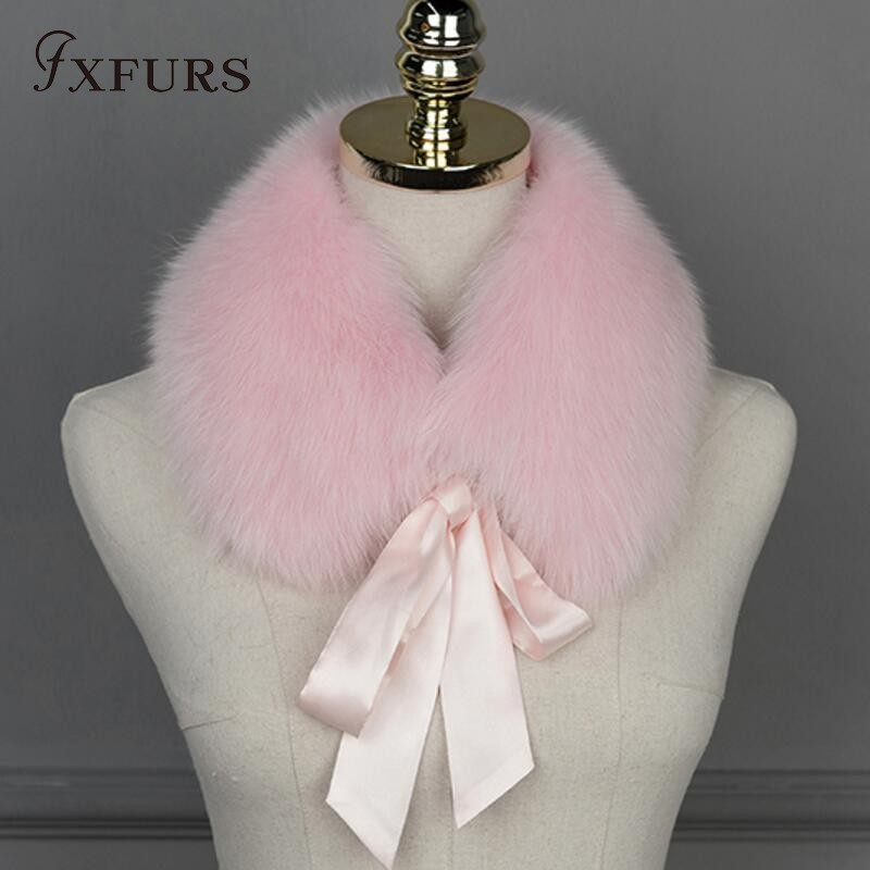 FXFURS 2018 New Fashion 100% Real Fox Fur Collar   Scarves     Wraps   Women Winter Warm Fur Accessory Muffle Lovely Collar for Girl