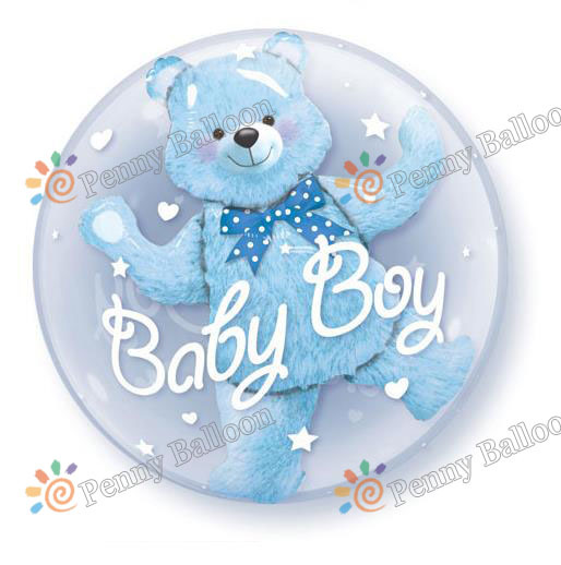 Jumbo Size Baby Boy Pink Blue Bear Double Bubble Balloon Boy Birthday Party Decorations Toys For Kids