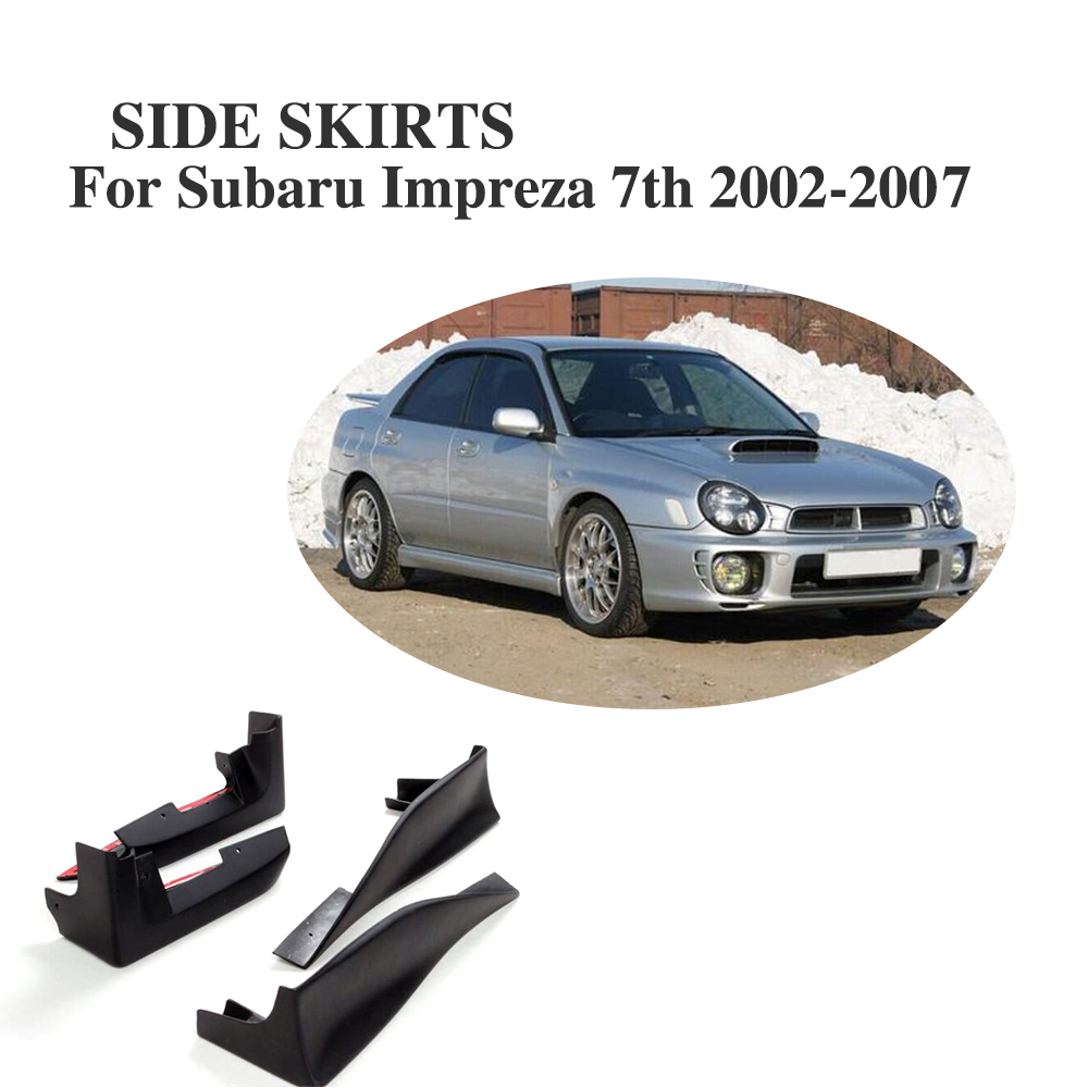 4Pcs/Set Front Rear Side Skirts Splitters Aprons For Subaru Impreza 7th MK7 WRX 2002-2007 PU Black Unpainted Trunk Trim Sticker цена 2017
