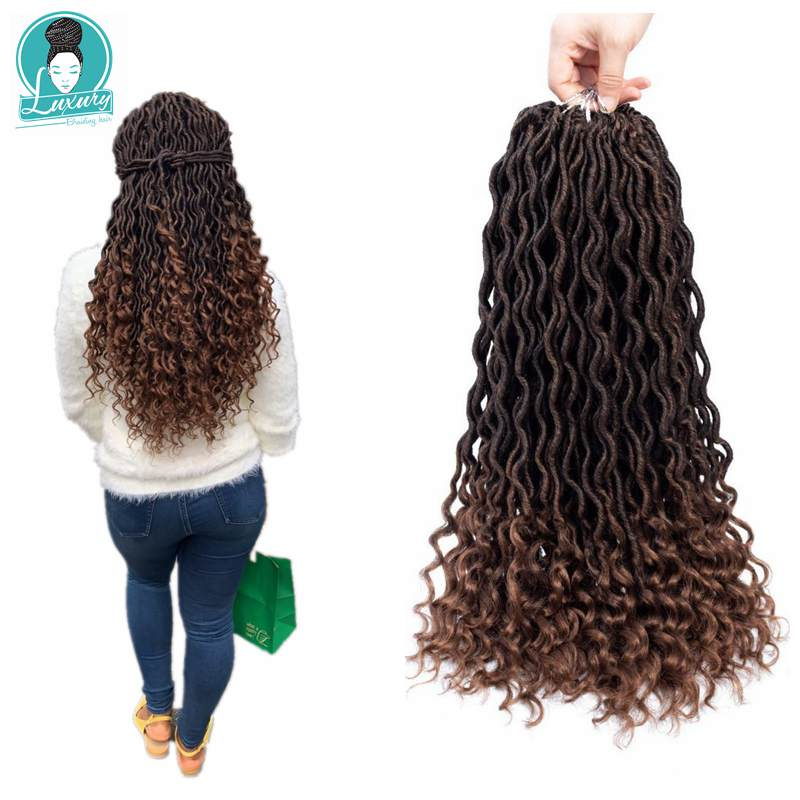 "Luxury For Braiding 20"" Goddess Faux Dreads Locs Crochet Braids Soft Natural Synthetic Hair Extension 24 Stands/Pack"