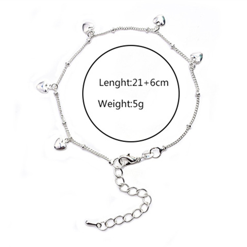 2020 New Love Heart Bracelets on leg the Anklets Beach Barefoot Sandals Foot Jewelry For Women Fashion Brand 2020 New Arrival 3