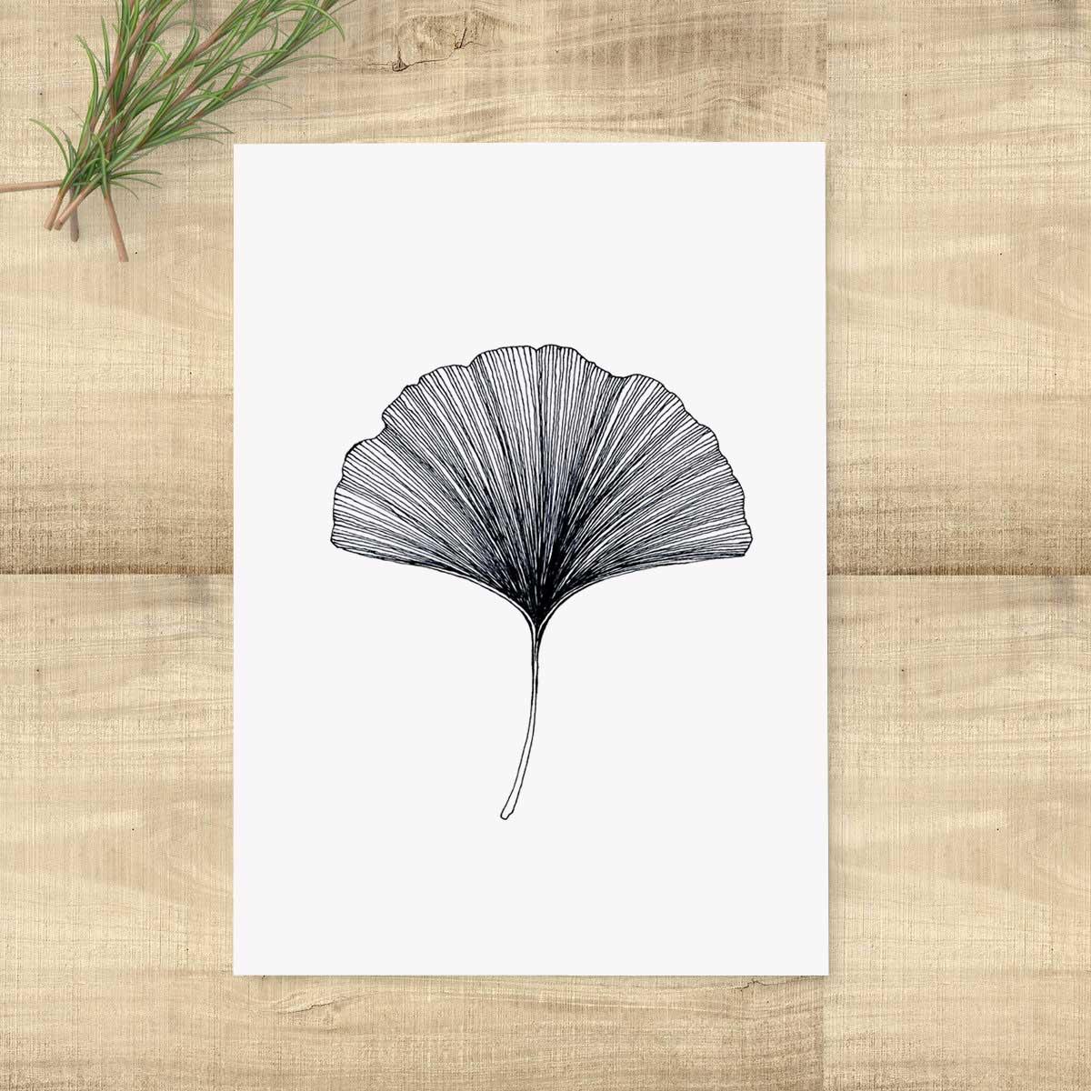 White leaf wall decor : Ginkgo leaf wall art modern print poster