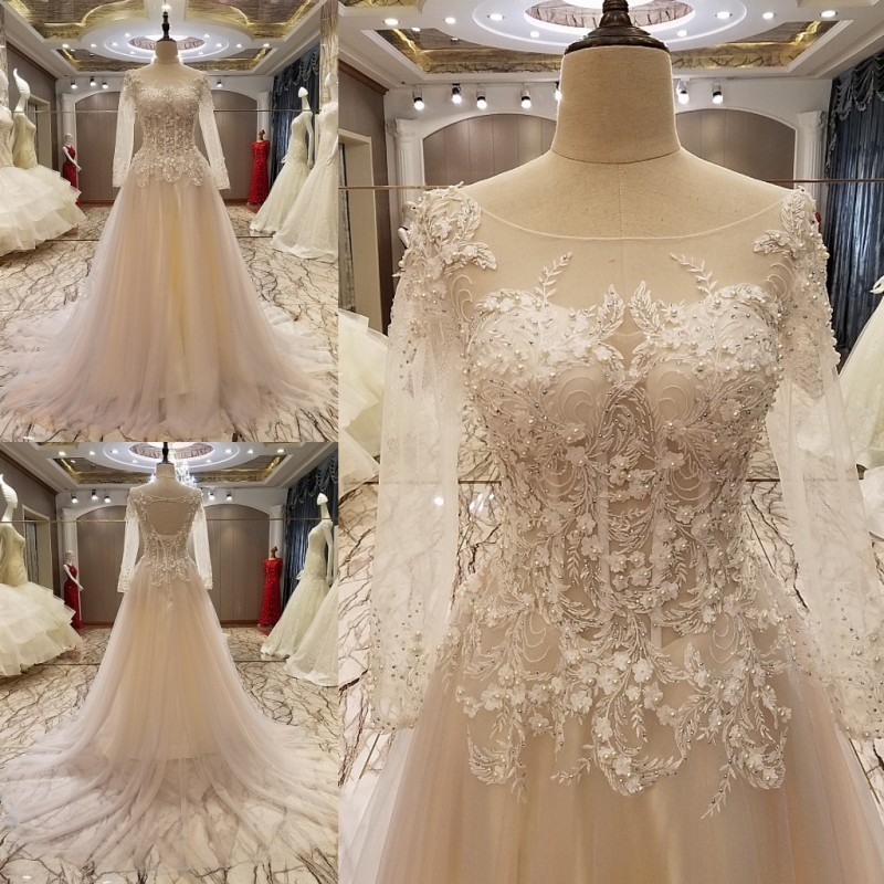 Custom Made 2017 New Design A-line Long Sleeve Crystal Appliques Beading Lace Luxury   Evening     Dresses   Party   Dress   Prom Gowns PS12