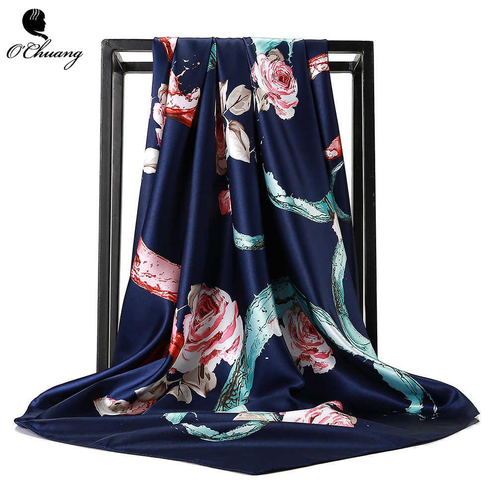 O CHUANG Delle Donne di Modo Sciarpa di Lusso di Marca foulard di Raso Sciarpe Grande Formato Dei Capelli Piazza Sciarpe Per Le signore della fascia 90*90 centimetri