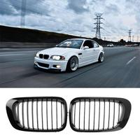 2pcs Car Auto Front Sport Hood Kidney Grille Hood Nose Grill for BMW E46 Two Doors 99 02 Gloss Black Car Styling 265*155*60mm