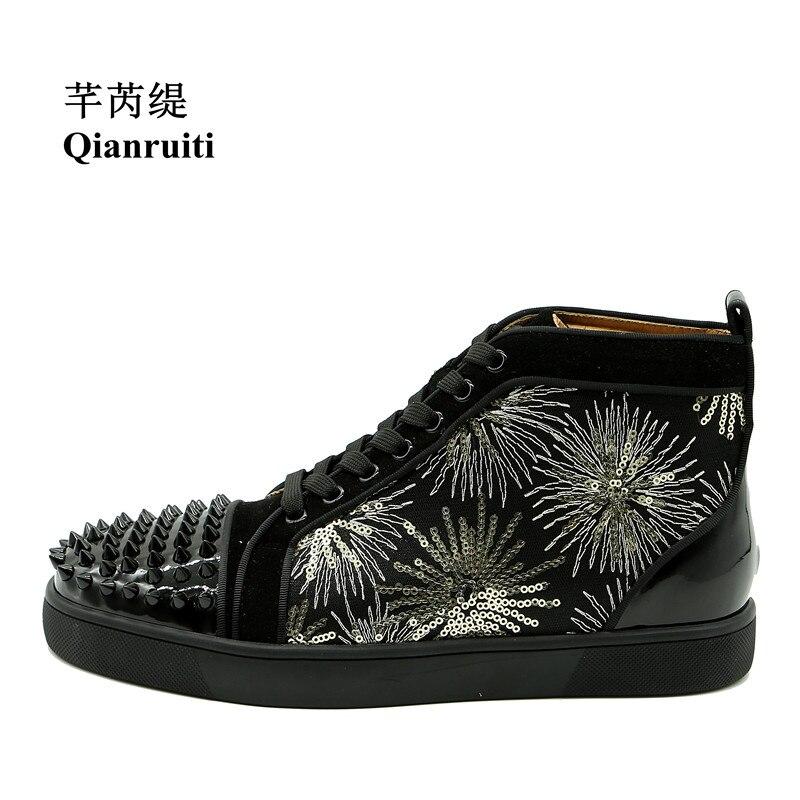 Qianruiti Men Firework Embroidery Sneaker High Top Espadrilles Platform Flat Lace-up Rivet Ankle Boots Sequins Zapatillas Hombre