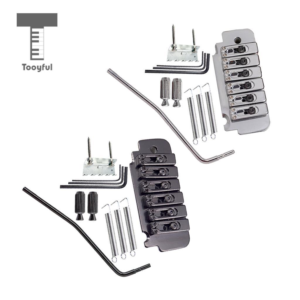 Tooyful 1 Set Zinc Alloy Tremolo Bridge System with Tremolo Bar Screws Wrench Studs for 6 String Electric Guitar Parts yibuy 5 x zinc alloy 3 string electric cigar box guitar bridge tailpiece gold
