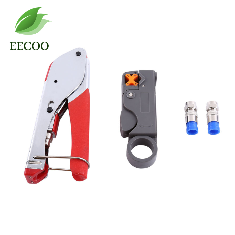 1 set Coaxial Cable Wire Stripper RG6/RG59 Compression F Connector Tool Crimping Pliers Wire Stripping Pliers Kit Free Shipping