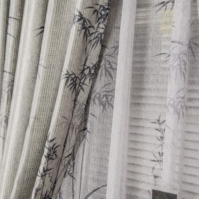 The finished curtain new style classical chinese ink painting shade cloth sun-shading balcony curtain