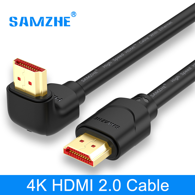 SAMZHE 4K HDMI 2.0 Cable 90/270 Degree Angle HDMI to HDMI Cable 2K*4K 1M 1.5M 2M 3M 5M 1080P 3D for TV PC Projector PS3 PS4 gold plated nylon braided hdmi cable hdmi 2 0 4k x 2k ethernet support video 4k 2160p hd 1080p 3d 1 5m 3m 5m 10m 15m 20m