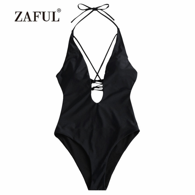 0113e00108f27 ZAFUL One Piece Swimsuit Women Swimwear Low Cut Crisscross One Piece Self  Tie Padded Swimwear Halter Solid Swimsuit Bathing Suit