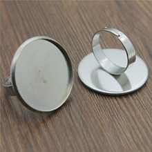 5pcs Fit 10~25mm Round Glass Cabochon Stainless Steel Material Simple Adjustable Ring Setting Base For Jewelry Making