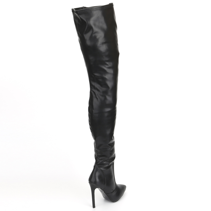 jialuowei Thigh High Boots Stiletto Heels Sexy Full Zipper Over the knee Long Boots Lacquered Patent Black Plus Size 36 46 in Over the Knee Boots from Shoes