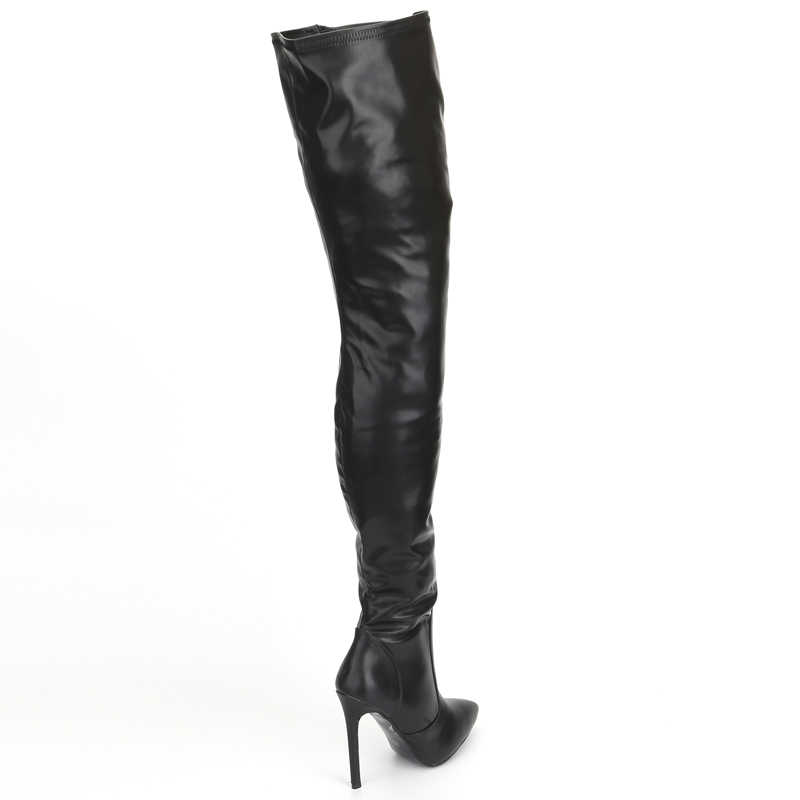 ecac40f976f ... jialuowei Thigh High Boots Stiletto Heels Sexy Full Zipper Over-the-knee  Long Boots ...