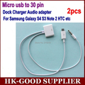 2 unids Micro usb a 30 pin adaptador del cargador del muelle Cable de salida de Audio para Samsung S4 s5 s6 nota 3 nota 4 LG HTC a iphone 4 muelle