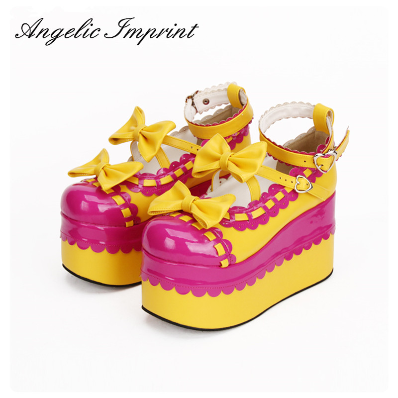 Japanese Harajuku Cosplay Shoes Lolita Sweet Lady Wedge Shoes Thick Platform Patchwork Tea Party Shoes юбка blue shells cosplay pettiskirt tutu lolita