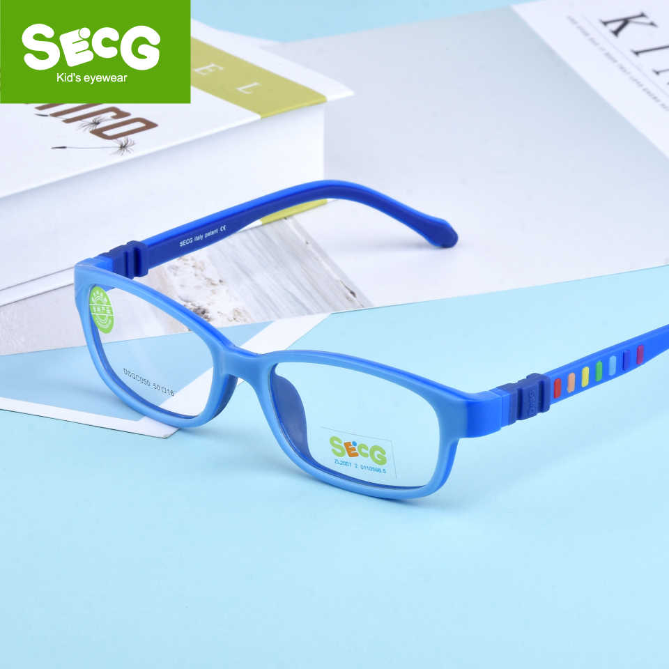 SECG Children Eyeglasses Frame Silicones Soft TR90 kids Prescription Glasses Optical Spectacle Frame Safety Anti fall Pressure