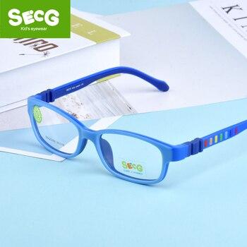 SECG Children Eyeglasses Frame Silicones Soft TR90 kids Prescription Glasses Optical Spectacle Safety Anti fall Pressure
