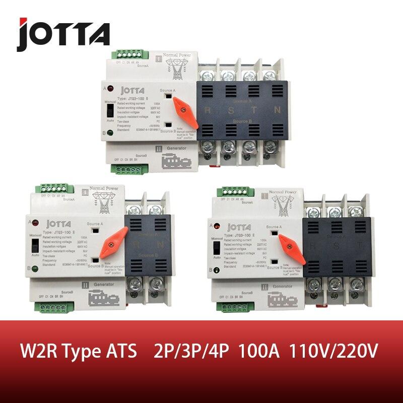 Jotta W2R-2P/3 P/4 P 100A 110 V/220 V Mini ATS commutateur de transfert automatique commutateurs de sélection électriques double interrupteur d'alimentation