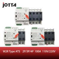 Jotta W2R-2P/3 p/4 p 100a 110 v/220 v mini ats interruptor de transferência automático switches seletor elétrico interruptor de alimentação dupla