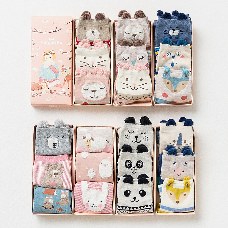 100% cotton women socsk with box 3 pairs/box colorful animal design on sale Christmas gift 492