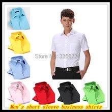 Free shipping Wholesale Men's summer short sleeve solid color big size office shirts Hombres de camisa QR-1393