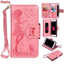 Nephy หนังนุ่มกรณีสำหรับ iPhone 6 6 s 7 8 Plus X 10 5 5 S SE 5SE 6 Plus 6 SPlus 7 Plus 8 Plus สาวหรูหรากระเป๋าสตางค์โทรศัพท์มือถือ
