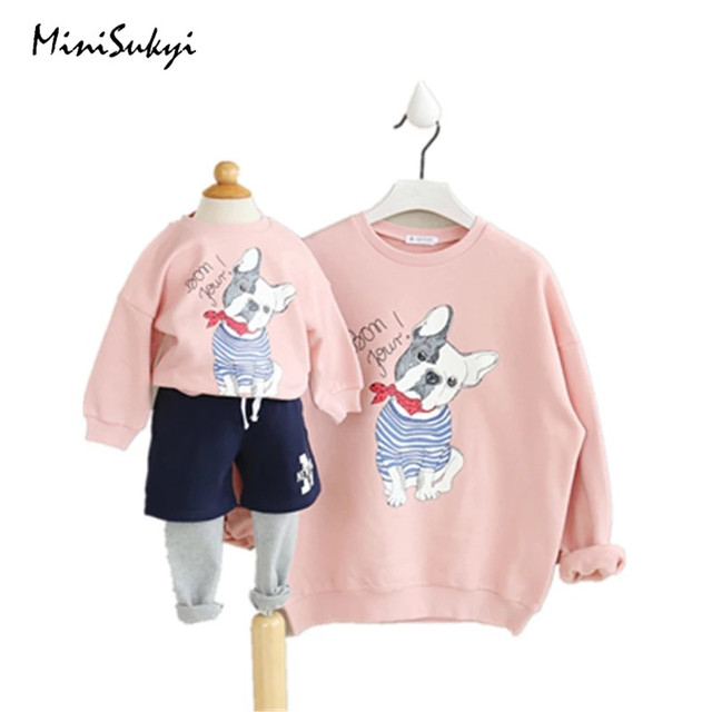 Family matching clothes Spring Matching Mother Daughter Clothes Cartoon Hoodies Fashion Mother and Daughter Clothes Pink