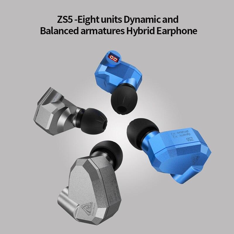 In Stock New Original KZ ZS5 2DD+2BA Hybrid In Ear Earphone HIFI DJ Monito Running Sport Earphones Earplug Headset Earbud