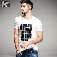 KUEGOU 2016 Summer Mens Fashion T Shirts Famous Brand Clothing Black White Print Short Sleeve Gents