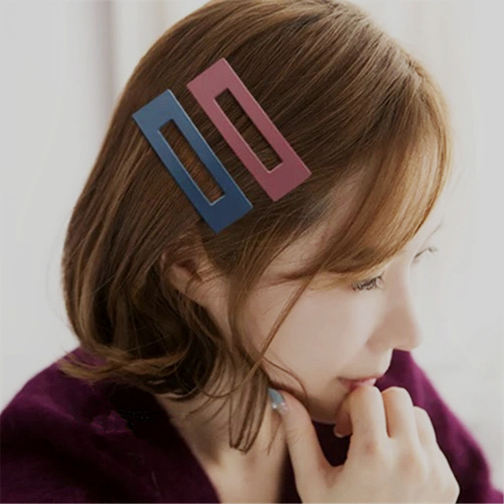 2Pc New Fashion Elegant Style Women Girls Candy Solid Color Square Hair Clip Metal Girls Hair Accessories Styling Tools Gifts