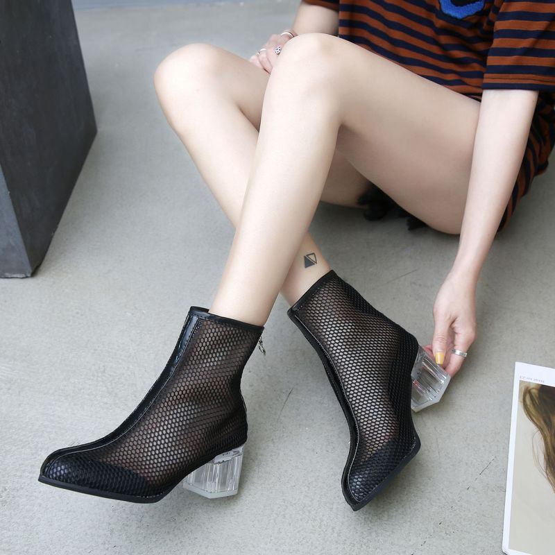 2019 Hollow Breathable Women 39 s Boots Transparent Crystal High Heel Shoes Fashion Ladies Heels Booties Ankle Woman Sandals Casual in Ankle Boots from Shoes