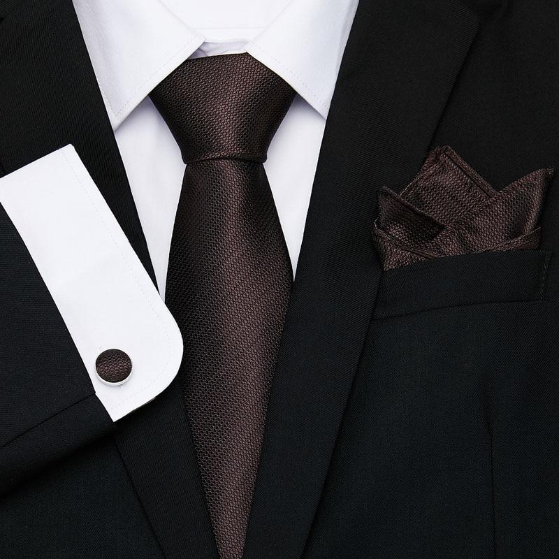 Nice Brown Solid Paisley Tie Set Silk Jacquard Mens Necktie Gravata Hanky Cufflinks Pocket Handkerchief for Wedding