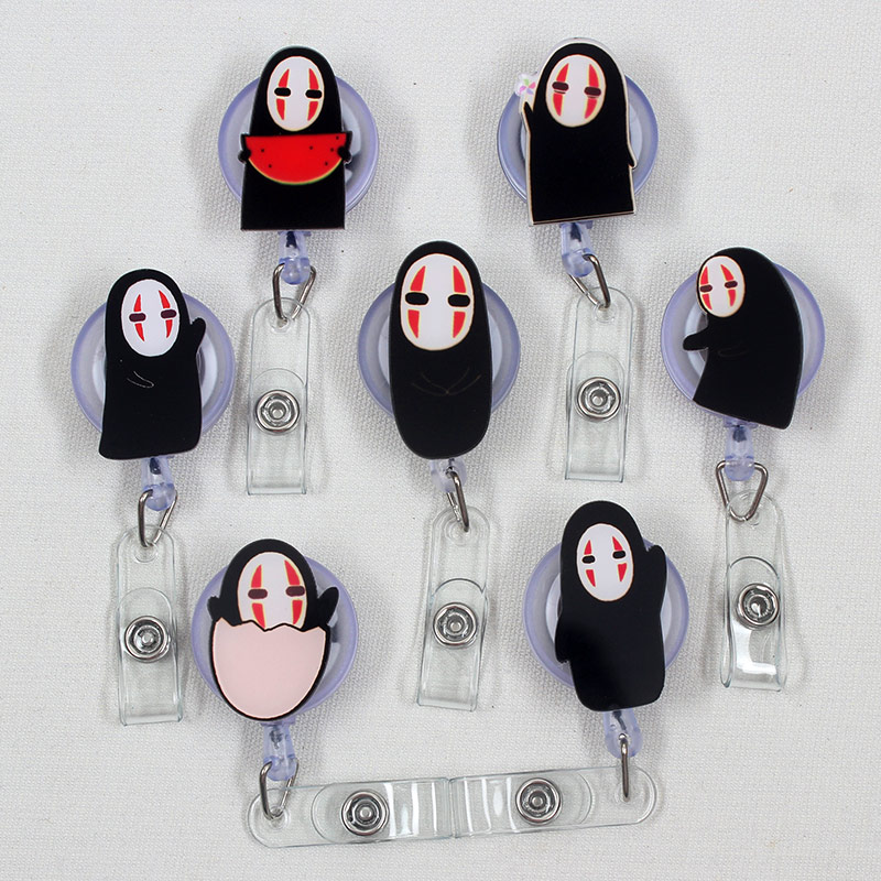 Cartoon Black No Face Man Retractable Badge Holder Reel Exhibition Enfermera Students Girls Name Card Hospital Office Chest Card
