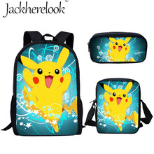 Jackherelook Cartoon School Bags For Boys Girls Anime Pokemon Detective Pikachu Print 3Set Student Children Kid Backpack