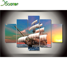 YOGOTOP DIY Diamond Painting Cross Stitch Kits 5D Diamond Embroidery sailing 5D Full Diamond Mosaic Needlework 5pcs/set ML088 yogotop diy diamond painting cross stitch kits full diamond embroidery 5d diamond mosaic needlework muslim 5pcs ml167