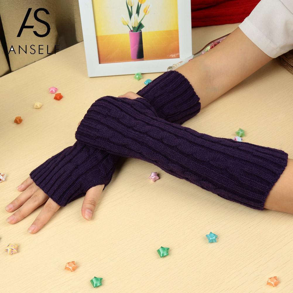 Anself Long Knitted Fingerless Gloves Fashion Women Winter Gloves Autumn Wrist Arm Hand Warmer Black Mittens Handschoenen 2019